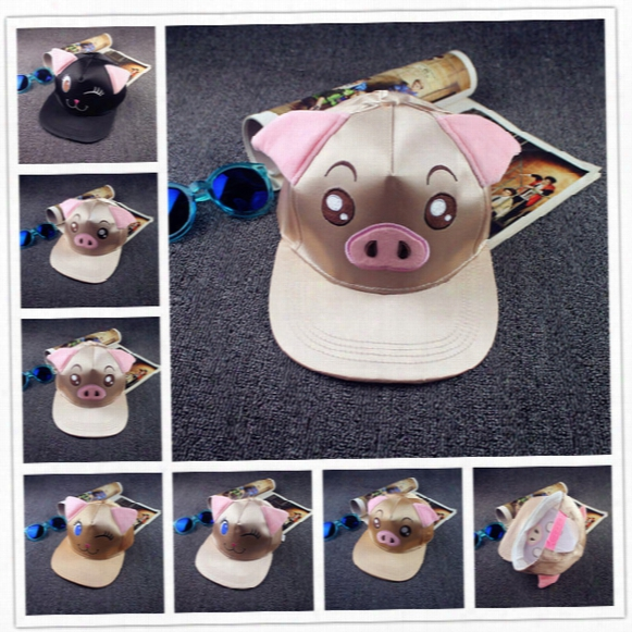 Hot Winter Women Men Harajuku Bucket Hat Hip-hop Baseball Cap Casual Cat And Pig Hats Outdoor Sport Hat Free Shipping