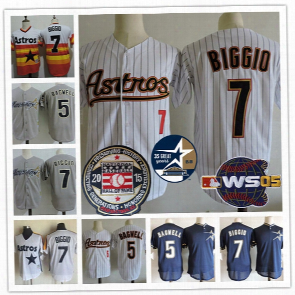 Houston Astros #7 Craig Biggio Red Hall Of Fame 2005 World Succession Gray White Pinstripe Orange Rainbow Mesh Throwback Stitched Jersey S,3xl