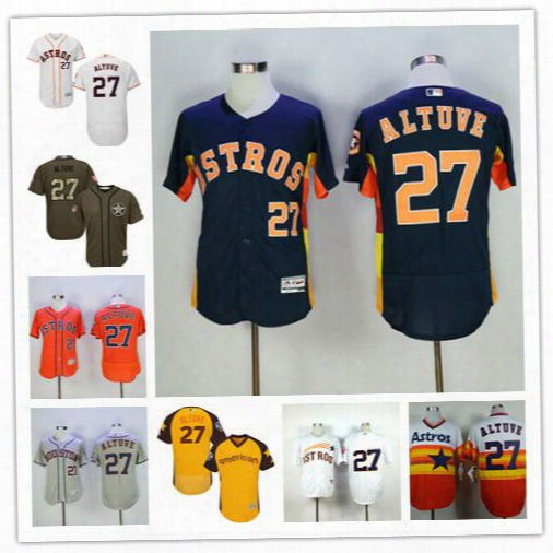 Houston Astros Jose Altuve Jersey Gray Orange Dark Blue Green White Rainbow Cooperstown Throwback 27 Jose Altuve Cool Base Jerseys Cheap
