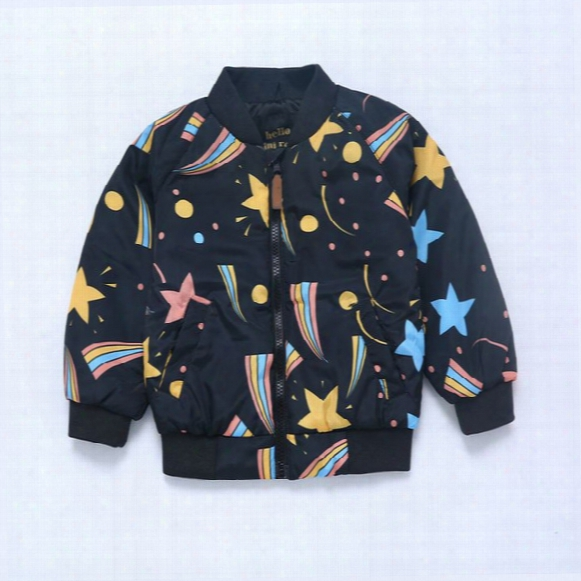 Ins Mini*rodini Baseball Jacket Children Starry Flying Jackets Kids Spring Autumn Winter Cotton Coat Free Dhl 238