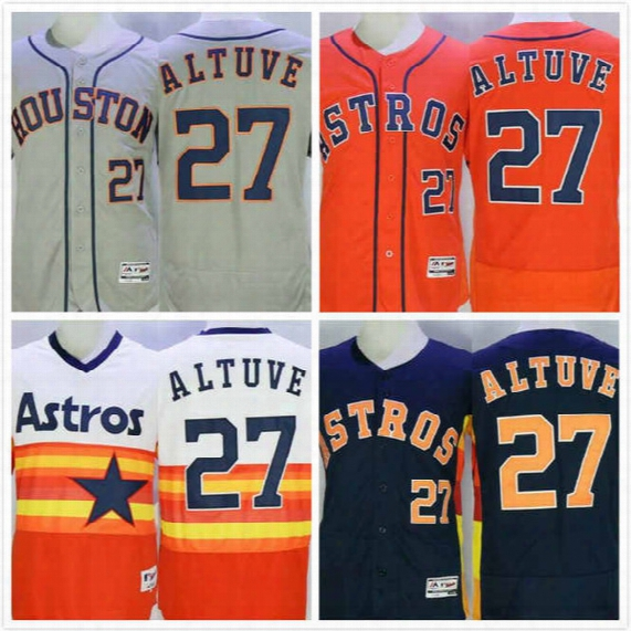 Jose Altuve Jersey 27 Mens Astros Baseball Jersey Throwback Elite Full Stitched Embroidery Logo Orange Grey White Size S-3xl Free Shipping