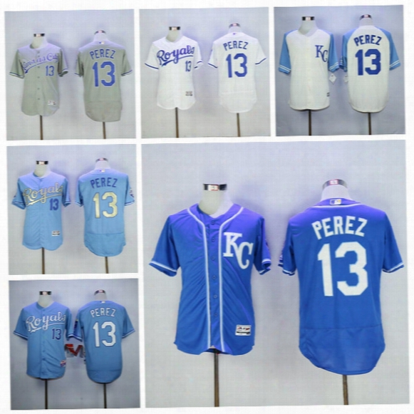 Kansas City Royals 13 Salvador Perez Jersey Baseball Flexbase Gold Kc Baby Blue Grey White Sgitched With World Series Champions Patch