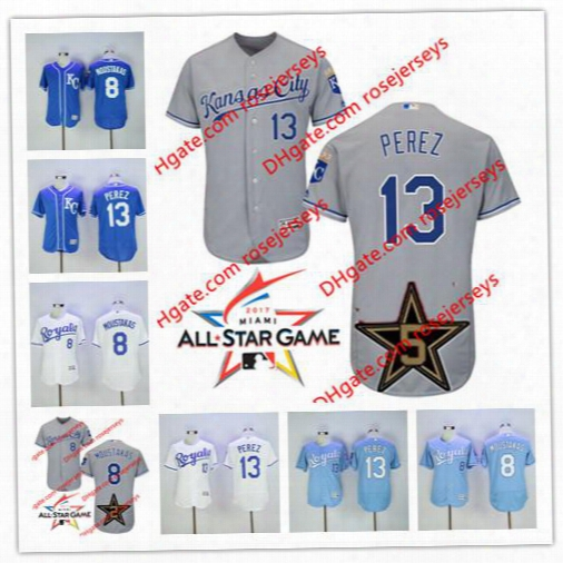 Kansas City Royals 2017 All-star Game Worn Jersey 8 Mike Moustakas 13 Salvador Perez Gray Road White Kc Royal Blue Stitched Baseball Jerseys