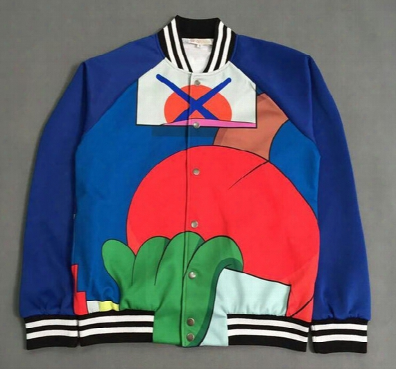 Kpop Hip Hop Mens Abstract Pattern Varsity Jackets 2016 New Fashion Unisex Stripes Embellished Baseball Uniform Free Shipping