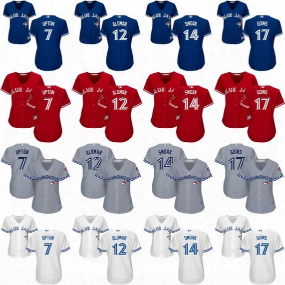 Lady 7 Melvin Upton 12 Roberto Alomar 14 Justin Smoak 17 Ryan Goins Women's Toronto Blue Jays Jerseys Stitched Embroidery Logos