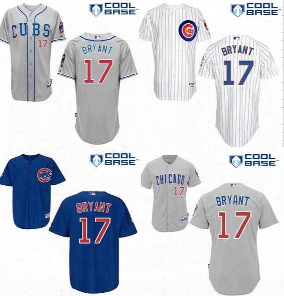 Male Female Kids Fashion Stars&stripes Mother Chicago Cubs Kris Bryant World Series Cool Flex Baseball Jerseys Grey White Pinstripe Blue