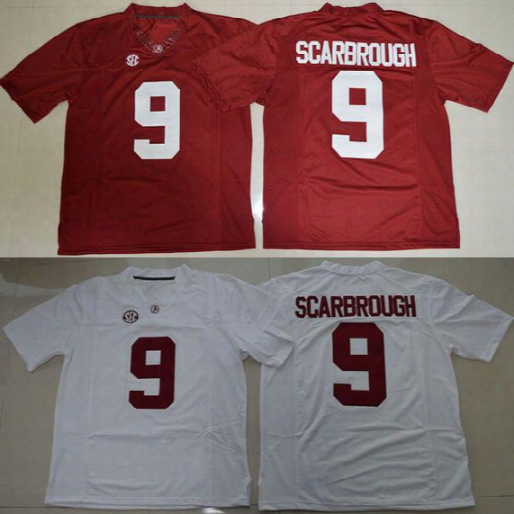 Men Alabama Crimson Tide 9 Bo Scarbrough White Red College Jerseys Adult Size Mix Order Free Shipping