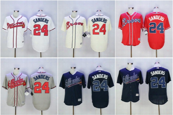 Men Atlanta Braves 24 Deion Sanders Jerseys Majestic White Red Gray Navy Blue Cool Base Flex Base Baseball Jerseys 2017 Commemorative Patch
