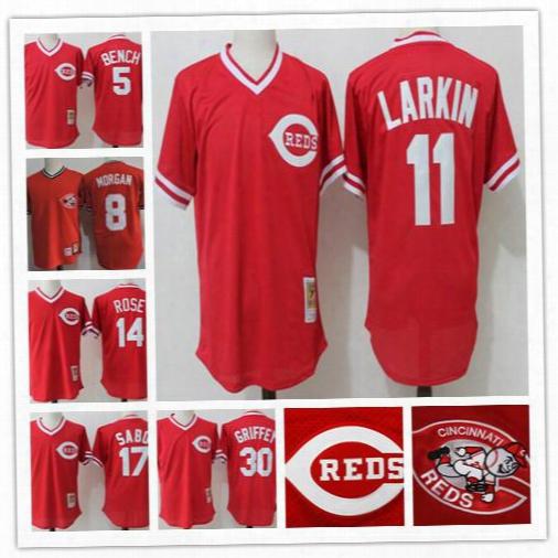 Men Cincinnati Reds 5 Johnny Bench 11 Barry Larkin 17 Chris Sabo Red Bp 30 Ken Griffey 14 Pete Rose 1983 Mesh Throwback 8 Joe Morgan Jerseys