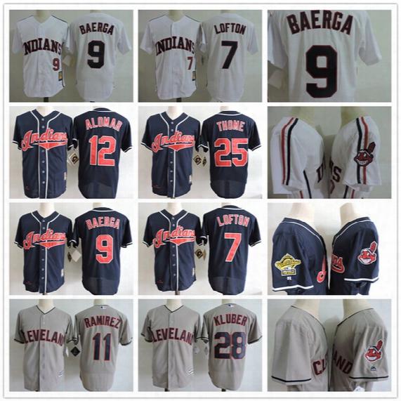 Men Cleveland Indians 1993 Throwback Jerseys Baseball 7 Kenny Lofton 9 Carlos Baerga 12 Roberto Alomar 28 Corey Kluber 1 Jose Ramirez Jersey
