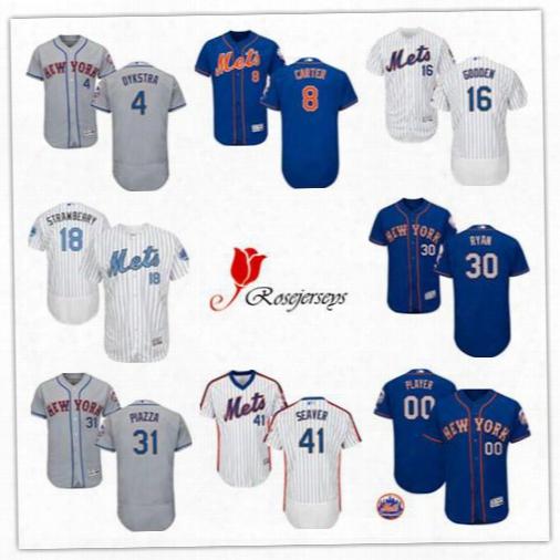 Men Flex Base New York Mets Retired 4 Lenny Dykstra 14 Gil Hodges 17 Keiht Hernandez 30 Nolan Ryan Gray Oryal Blue White Pullover Jerseys