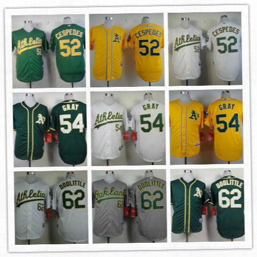Men Oakland Athletics Baseball Jersey 62 Sean Doolittle 52 Yoenis Cespedes 54 Sonny Gray Jersey Cool Base Green White Yellow Gaey Mlb Jersey