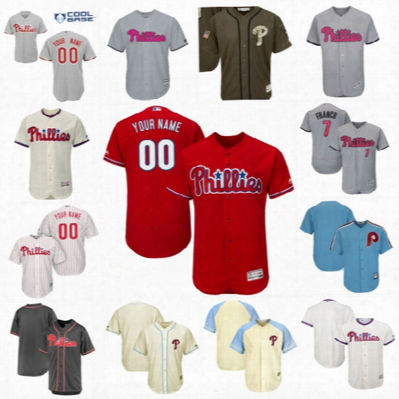 Men Philadelphia Phillies Customized With Any Name & Number Flexbase Coolbase Baseball Jerseys Personalized Stiched Embroidery Logos