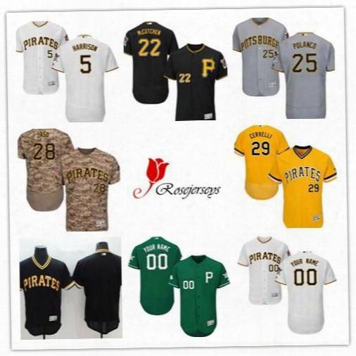 Men Pittsburgh Pirates Flex Base 22 Andrew Mccutchen Black 29 Francisco Cervelli Camo Gray 28 John Jaso Green 25 Gregory Polanco Gold Jersey