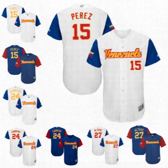 Men Venezuela 2017 World Baseball Classic Jersey 15 Salvador Perez 24 Miguel Cabrera 27 Jose Altuve 34 Felix Hernandez Baseball Jerseys
