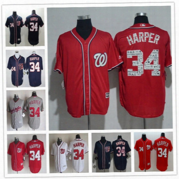 Men Washington Nationals Baseball Jerseys #34 Bryce Harper White Navy Blue Gray Red Fashion Stars Stripes Majestic Jerseys