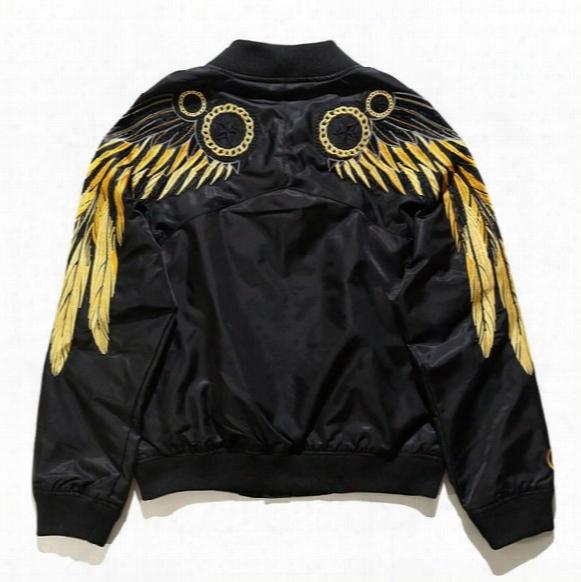 Men Women Embroidery Golden Feather Wing Tatical Jacket Pilot Ma1 Bomber Jacket Boy London Baseball Black Nasa Brand Clothing