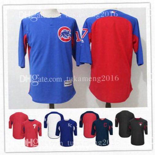 Men's 17 Kris Bryant Chicago Cubs Mlb Baseball Jerseys Majestic Royal On-field 3/4-sleeve Player Batting Practice Jersey Embroidery