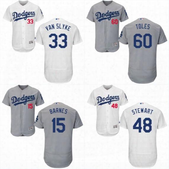 Men's 2017 Los Angeles Dodgers #33 Scott Van Slyke #73 Stetson Allie #35 Cody Bellinger #84 Willie Calhoun Flex Base Onfield Jersey
