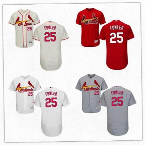 Men's 2017 St. Louis Cardinals #25 Dexter Fowle R Jerseys Baseball Jersey Flex Base Authentic Collection Stitched