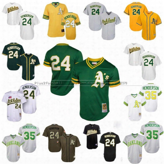 Men's #35 Mitchell & Ness Oakland Athletics #24 Rickey Henderson 1991 Cooperstown Throwback Baseball Jerseys Stitched Size S-4xl