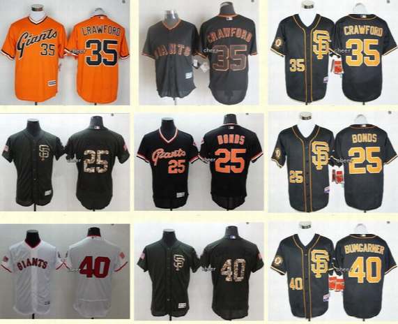 Men's 40 Madison Bumgarner 35 Brandon Crawford 25 Barry Bonds Black White San Francisco Giants Baseball Jerseys