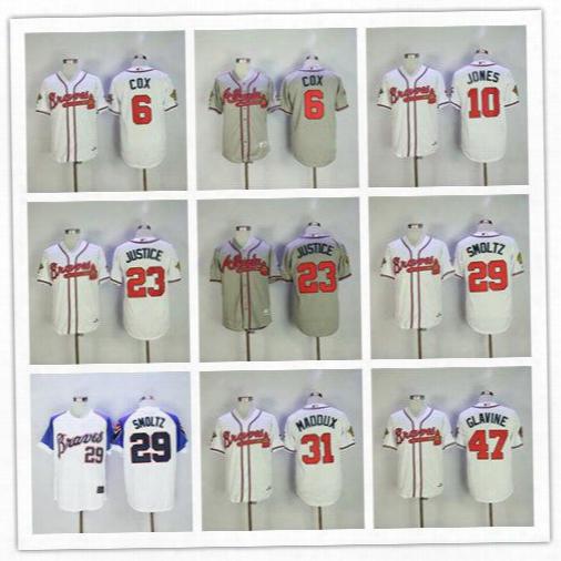 Men's Atlanta Braves 6 Cox 8 Lopez 10 Jones 23 Justice 29 Smoltz 31 Maddux 47 Glavine 49 Rocker 1995 Throwback Baseball Jerseys