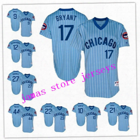 Men's Chicago Cubs 17 Kris Bryant 9 Javier Baez 44 Anthony Rizzo 12 Kyle Schwarber 27 Addison Russell Light Blue Turn Back Jerseys