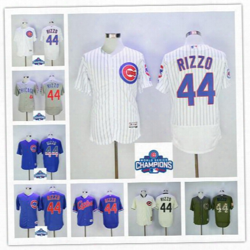 Men's Chicago Cubs 44 Anthony Rizzo Baseball Jerseys 2016 World Series Champions Cool Base Flexbase Blue Pure Grey Cream Free Shipping