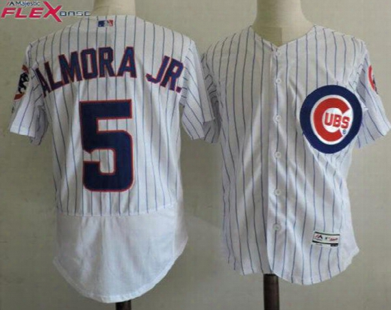 Men's Chicago Cubs 5 Albert Almora 2017 White Flex Base Players Baseball Jersey Stitched #5 Albert Almora Jr. Cubs Cool Base Jersey S-xxxl