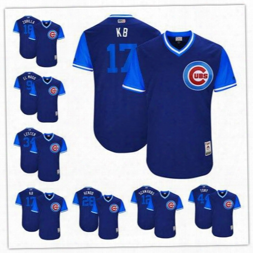 Men's Chicago Cubs Navy 2017 Little League World Series Playerss Weekend Authentic Jersey 9 Baez 17 Bryant 44 Rizzo 62 Quintana Size S-6xl