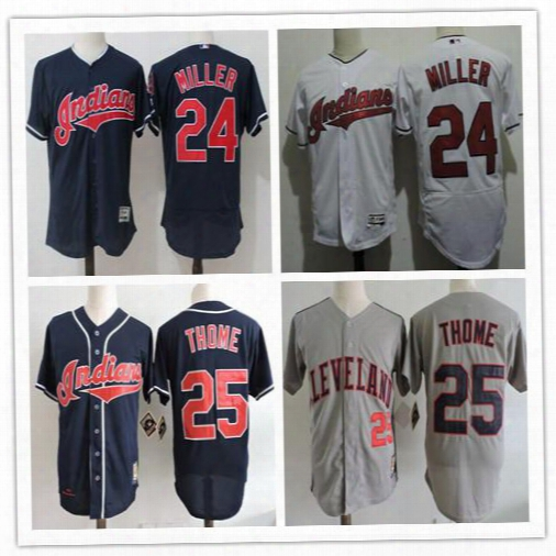 Men's Cleveland Indians 25 Jim Thome 24 Andrew Miller Navy Blue Stitched Mlb Majestic Flex Base Jersey Cooperstown Collection Jersey