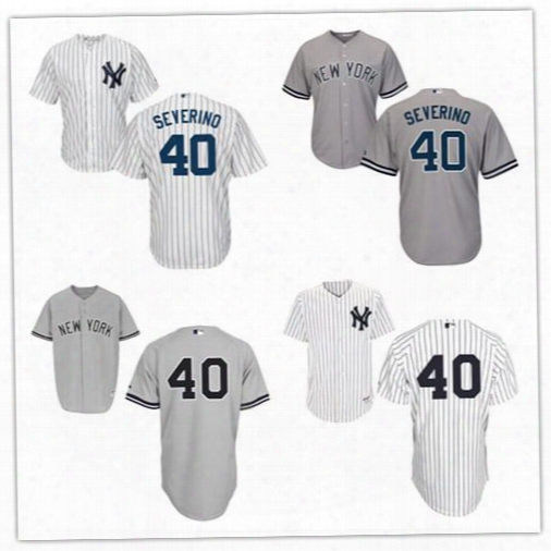 Men's Cool Base 40 Luis Severino Jersey Grey White Pinstripe Ny New York Yankees Baseball Authentic Jerseys Cheap Stitched Logos