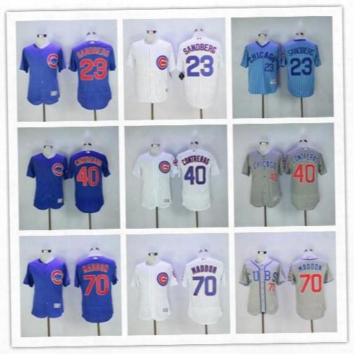 Men's Flexbase Stitched Chicago Cubs #23 Ryne Sandberg #40 Willson Contreras #70 Joe Maddon White Blue Gray Cream Mlb Jersey Mix Order