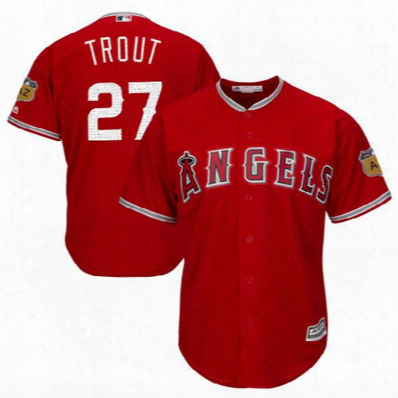 Men's Los Angeles Angels Of Anaheim 27 Mike Trout Mlb Scarlet 2017 Spring Training Cool Base Authentic Flex Base Player Jersey Free Shipping