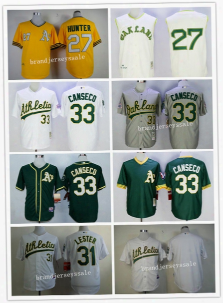 Men's Oakland Athletics Baseball Jersey 27 Catfish Hunter 31 Jon Lester 33 Jose Canseco Jersey Cool Base Gray Green White Yellow Retro Mlb