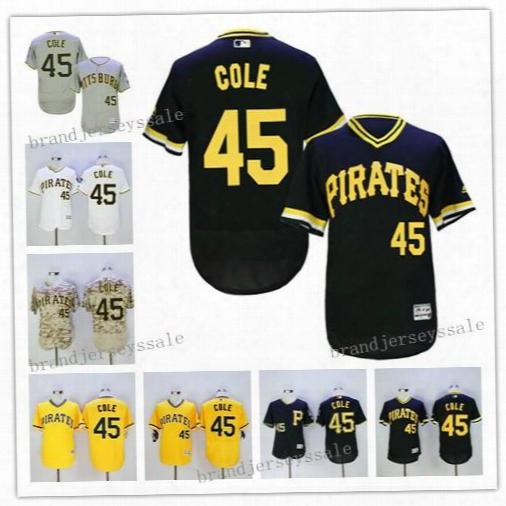 Men's Pittsburgh Pirates 45 Gerrit Cole Baseball Jerseys 2016 Flexbase Jerseys Camo White Majestic Black Alternate Cool Base Player Jersey
