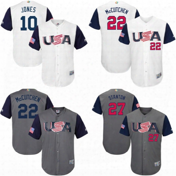 Men's S-5xl 2017 World Baseball Classic Usa Team Jersey 22 Andrew Mccutchen 27 Giancarlo Stanton 28 Buster Posey 35 Eric Hosmer Jerseys