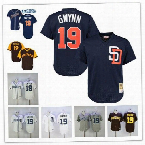 Men's San Diego Padres 19 Tony Gwynn White Blue Coffee 1982 1984 Turn Back The Clock Stitched Throwback Jersey Pullover Baseball Jerseys