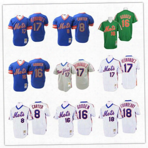 Men's Throwback 8 Gary Carter 16 Dwight Gooden 17 Keith Hernandez 18 Darryl Strawberry Jerseys Baseball New York Mets Stitched Shirts