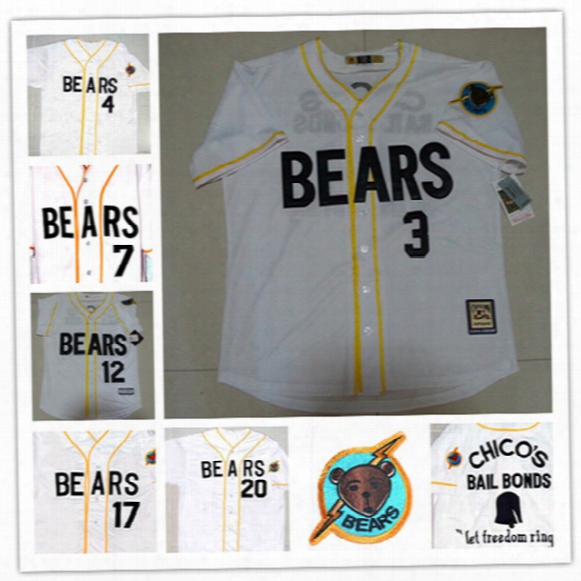Men's White Stiched Bad News Bears Movie Baseball Jerseys #3 Kelly Leak #12 Tanner Boyle #4 #7 #13 #17 #20 Chicos Bail Bonds Baseball Jersey