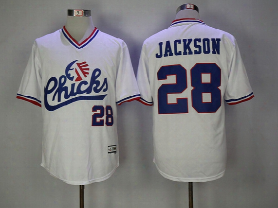 Mens #28 Bo Jackson Baseball Jersey Memphis Chicks Movie Throwback Baseball Jersey Best Quality White Fast Shipping