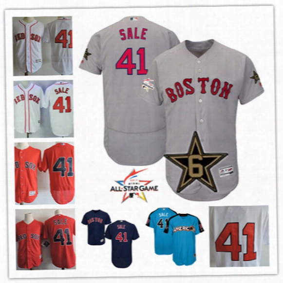 Mens #41 Chris Sale Boston Red Sox Jerseys Stitched Boston Red Sox Chris Sale Gray 2017 Mlb All-s Tar Game Flex Base Baseball Jersey S-3xl