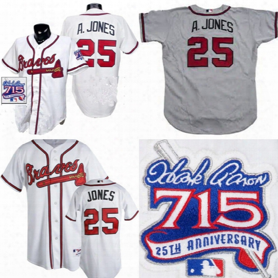 Mens Atlanta Braves #25 Andruv Jones Home White Jersey With 1999 Hank Aaron 715 Hr 25th Year Anniversary Mlb Baseball Jersey Sleeve Patch