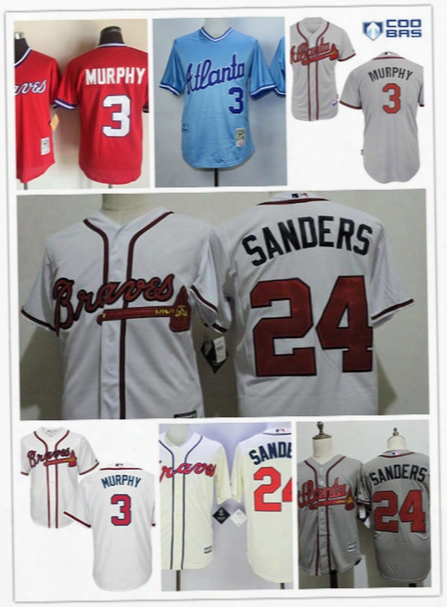 Mens Atlanta Braves #3 Dale Murphy Red 1980 Cooperstown Mesh Batting Jersey White #24 Deion Sanders Braves Cool Base Baseball Jersey S-3xl