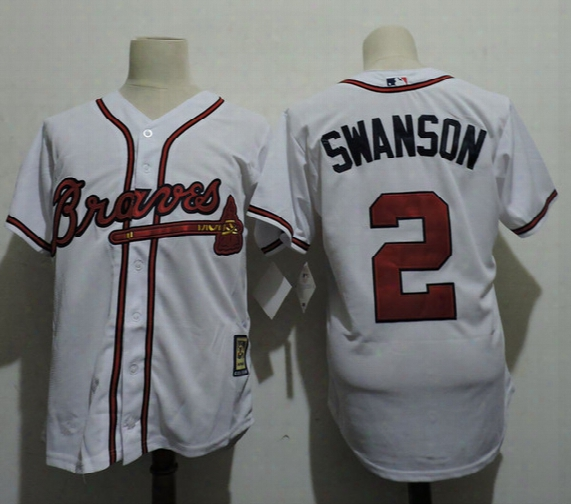 Mens Atlanta Braves Dansby Swanson 2017 Commemorative Patch Cool Base Jerseys Stitched White #2 Dansby Swanson Braves Baseball Jersey S-3xl