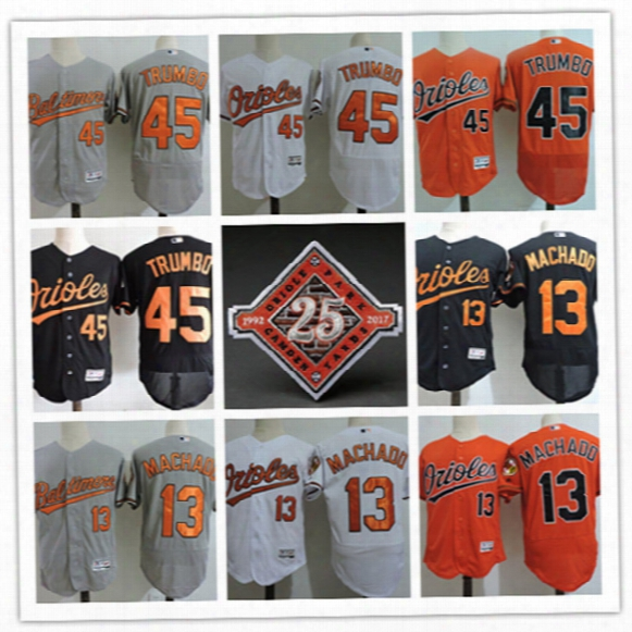 Mens Baltimore Orioles Manny Machado On-field Flex Base 25th Patch Jersey Stitched #45 Mark Trumbo Baltimore Orioles Baseball Jersey S-3xl