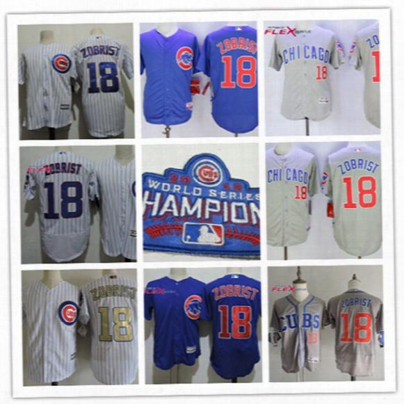 Mens Blue Cheap Chicago Cubs Ben Zobrist Flex Base Jersey #18 Ben Zobrist Cubs 2017 White Gold Program Cool Base Baseball Jersey S-3xl