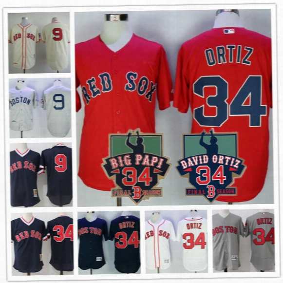 Mens Boston Red Sox #34 David Ortiz Jersey Big Papi Retired Navy Blue Mesh White Gray Road 9 Ted Williams Throwback Stitched Jerseys