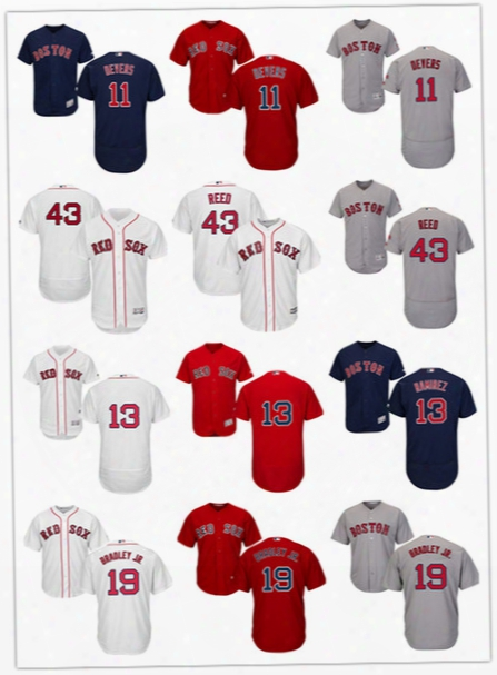 Mens Boston Red Sox Jackie Bradley Jr. Cool Base Jersey #11 Rafael Devers #43 Addison Reed #13 Hanley Ramirez Red Sox Flex Base Jersey S-3xl